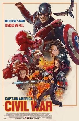 captain america civil war retro poster